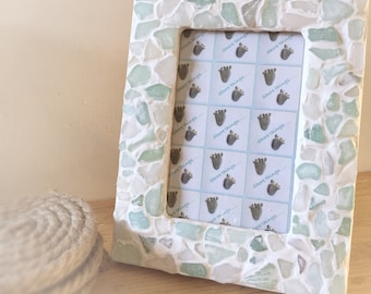 "Sea Glass Photo Frame Nautical Beach Themed Home Decor 6x4"" Natural Picture Frame Shabby Chic Greys & Blues"