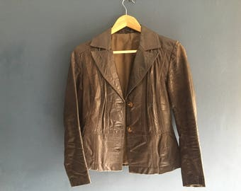 Fitted 70s Leather Blazer Small