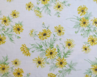 One Yard of Vintage Sheet Fabric - Yellow Sunflowers - 1 yd