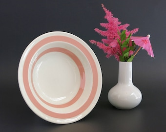 Pink Striped Carrigaline Pottery Cereal Bowl - Pink and White Stripe - Colleen Kitchenware - Cork Ireland, Irish Pottery - Pink Carrigaline
