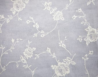"""3 Yards of Vintage 58"""" White Crepe Georgette Fabric. Printed Puffy Floral Design in Off White. Sewing, Apparel, Crafts, Dolls. Item 4231F"""