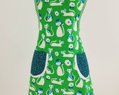 Retro style woman's cotton kitchen apron green blue cats