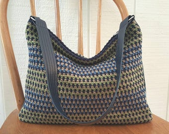 Crochet Shoulder Bag Slouchy Hobo Purse Navy Blue Green Tan Vinyl Sides and Bottom Lined with Pockets Silver Hardware