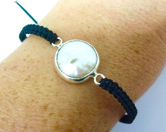 Sterling Silver Pearl Macrame Woven Adjustable Friendship Bracelet