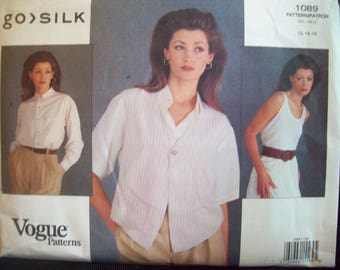Loose-Fitting Vest, Top, and Shirt Vogue go>SILK Pattern 1089 Sizes 12-14-16 Uncut Factory Fold