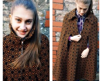 1960s Welsh wool tapestry cape black orange longer length vintage cape sixties original zip excellent condition fits all