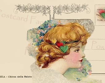 Pretty VALENTINE Girl on Postcard Back, Instant DIGITAL Download, Printable, Add Text or Message