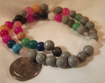 Bead Rounds Multi Gemstone 15IN Strand 8MM Brilliant Colors Bead Jewelry Mixed Media and Altered Art Supplies