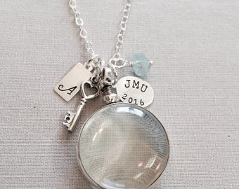 SALE Graduation Gift for Her Glass Locket College Graduation Personalized Necklace 2016 Necklace Sterling Silver