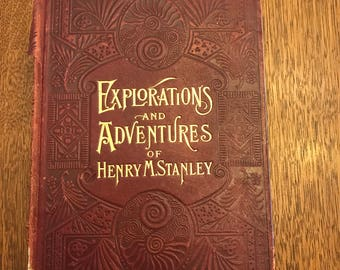 Antique Book, Wonders of the Tropics, Explorations and Adventures of Henry M Stanley, 1889, Vintage Book, Red Book, Henry Davenport Northrop