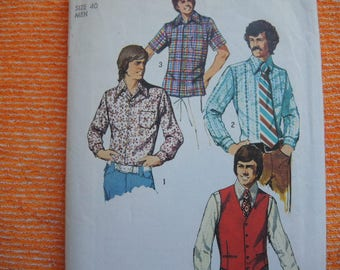 vintage 1970s Simplicity sewing pattern 5047 Mens vest and set of shirts size 40