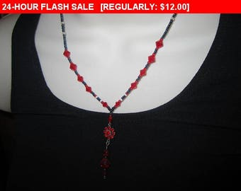 vintage beaded pendant necklace, estate jewelry, retro, hippie