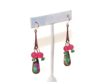Teardrop Cluster Earrings, Long Drop Earrings, Ruby In Fuchsite Earrings
