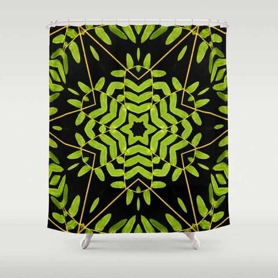 Shower Curtain, Bath Curtain, Nature Shower Curtain, Kaleidoscope, Green Leaves Kaleidoscope, Digital Photography, Nature, Abstract Art