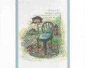 "Watercolor ""In The Garden"" Print by Marji Stevens Inspirational Old Hymn"