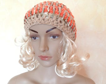 Crocheted hat for women with salmon and beige wool women's fashion accessories.