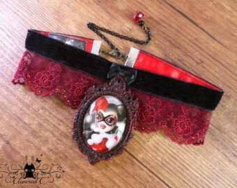 Handmade  Harley Quinn necklace // Fanart Gotham Girls with Harley Quinn  // Swarovski crystal // Handcrafted