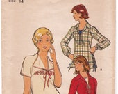 FF Butterick 4181, 1970s Misses' Tops Laced Front Blouse Loose Fitting with Side Slits Vintage Sewing Pattern, Size 14, Bust 36, UNCUT