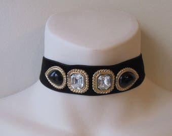 Black velvet chocker with gold tone recycled vintage jewelry