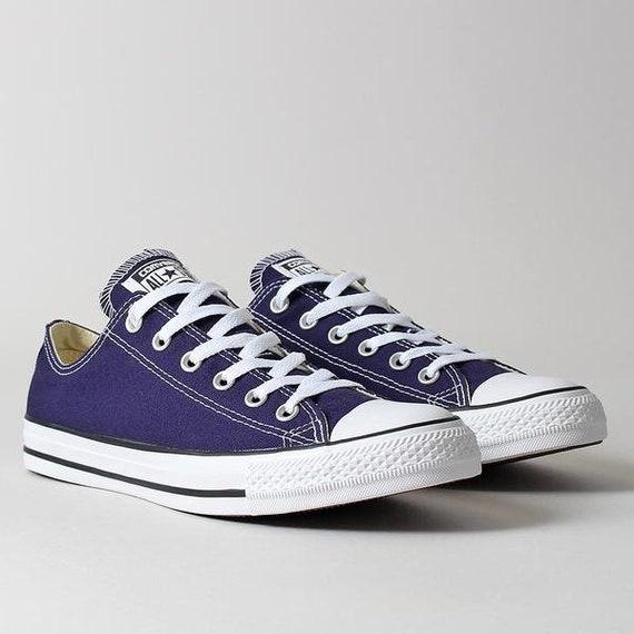 Blue Converse Royal Indigo Low Top Ladies Mens Midnight Navy Bling w/ Swarovski Crystal Rhinestone Chuck Taylor All Star Sneakers Shoes