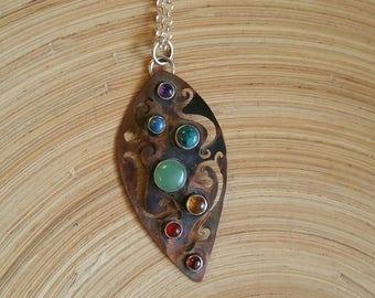 Copper and gemstone chakra necklace, chakra necklace, one of a kind, handmade, copper necklace, copper pendant, chakra, rainbow necklace
