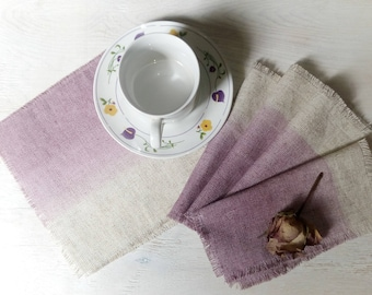 Hand dyed napkins, dusty lilac linen coasters, set of 6 cloth napkins