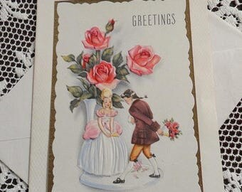 ON SALE Vintage Happy Birthday Greetings Embossed Card & Envelope Unused 1940s 1950s Romantic Man Woman Colonial Dress Bouquet Vase of Pink