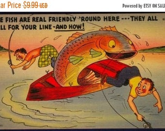 ON SALE Vintage 1950s  Comic Fishing Cartoon Linen Postcard #629 by Tichnor Bros Fish are Real Friendly 'Round Here! They Fall For Your Line