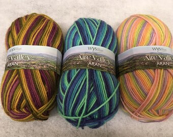 Three Colors of West Yorkshire Spinners' Self-striping Worsted Weight AIRE VALLEY ARAN Sock Yarn