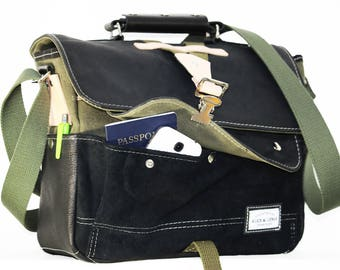 Military Inspired Leather Messenger bag - handmade + waxed canvas accents + 09 compartments - macbook bag - 010013