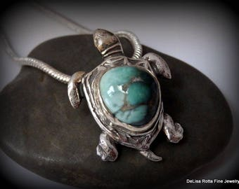 Recycled Silver, Genuine Turquoise, DameleTurquoise Mine, Sea Turtle, Pendant, Necklace, Tribal, Hawaiian, Good Luck, Gift