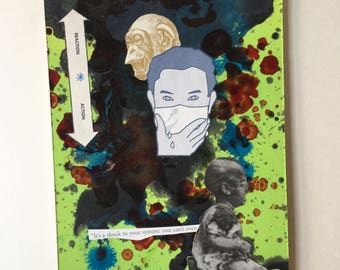 """Mixed media collage art. """"Shock to the System"""" outsider art. Weirdo art. Lowbrow art."""