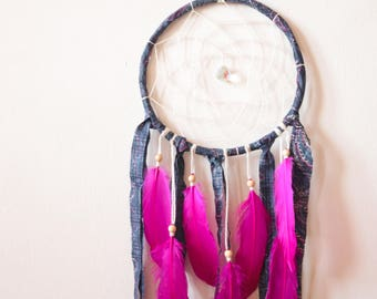 Custom Order for Kaycie - Dream Catcher with Navy Blue Frame, Cream White Web and Pink Feathers