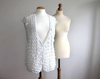 Handmade White Cotton Crochet Vest Large size Wedding Boho Hippie Festival Style Cotton Lace Vest