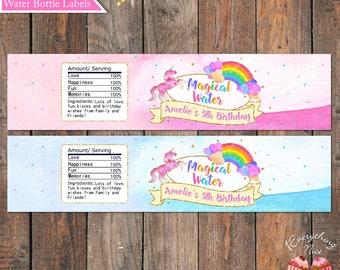 Unicorn Rainbow Water Bottle Drink Labels Digital Download