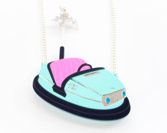 Bumper Car Acrylic Necklace. Dodgem Necklace Vintage Style Laser Cut from Perspex. Gift for Her. Alternative Gift for Valentines Day.