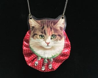 Victorian Kitty Necklace on Red