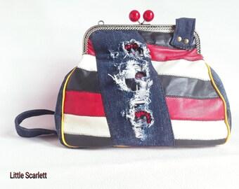 Retro multi color leather, denim and cats fabric shoulder bag