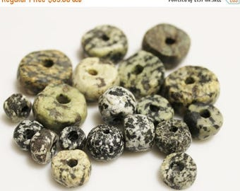 ON SALE Old African Granite Stone Beads, Mali Dogon Beads, Ethnic Jewelry Supplies (AD231)