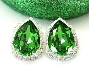 Green Earrings Stud Earrings Swarovski Stud Earrings Swarovski Bright Green Crystal Halo Earrigns Holiday Jewelry Bling Post Earrings FG31S