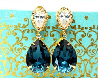 Navy Blue Earrings for Wedding Navy and Gold Earrings Bridal Earrings Navy Blue Bridesmaid Earrings Blue Navy Earrings Gift for Her MO31P