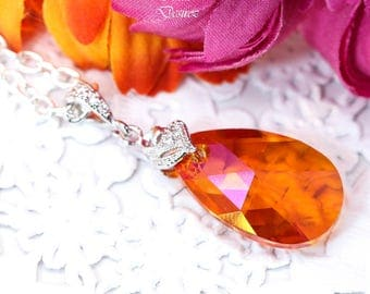 Swarovski Astral Pink Necklace Orange Necklace Orange and Pink Fuchsia Bridesmaid Gift Silver Necklace Teardrop Pendant Dual Colors AP32N