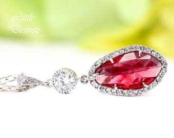 Ruby Necklace Crystal Pendant Necklace Cubic Zirconia Necklace Bridal Necklace Bridesmaid Necklace Pink Necklace Sterling Silver RP40N