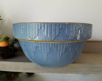 Antique Blue Stoneware Bowl Farmhouse