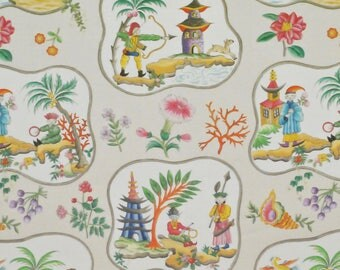 CLARENCE HOUSE Chinoiserie Pagodas Toile Linen Fabric 10 Yards Cream Multi