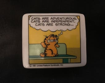Vintage Garfield Trinket Box 1981 Garfield Cat Jim Davis Cartoon Enesco