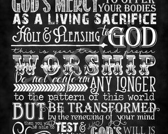 Scripture Art - Romans 12:1-2 Chalkboard Style