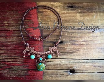 15% OFF SALE Turquoise Boho Necklace Antique Copper Wire Wrapped Bronze Leather Bib Necklace