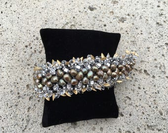 Handmade Gold Pearl Beaded Bracelet