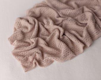 Noah Wrap, Newborn Knit Wrap, Baby Stretch Wrap, Newborn Textured Wrap, Brown Newborn Wrap, Brown Stretch Wrap, Newborn Layering Fabric, RTS
